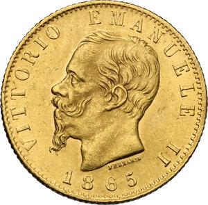 obverse: Vittorio Emanuele II, Re d Italia (1861-1878).. 20 Lire 1865 Torino