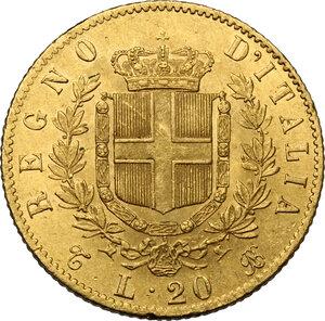 reverse: Vittorio Emanuele II, Re d Italia (1861-1878).. 20 Lire 1865 Torino