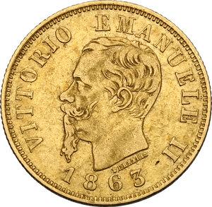 obverse: Vittorio Emanuele II, Re d Italia (1861-1878).. 10 Lire 1863