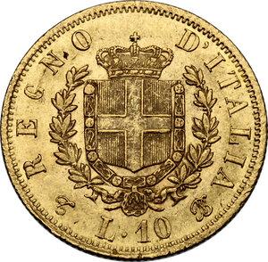 reverse: Vittorio Emanuele II, Re d Italia (1861-1878).. 10 lire 1863