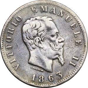 obverse: Vittorio Emanuele II, Re d Italia (1861-1878).. Lira 1863 Torino