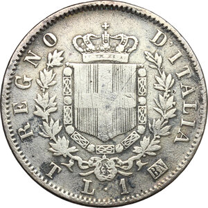 reverse: Vittorio Emanuele II, Re d Italia (1861-1878).. Lira 1863 Torino