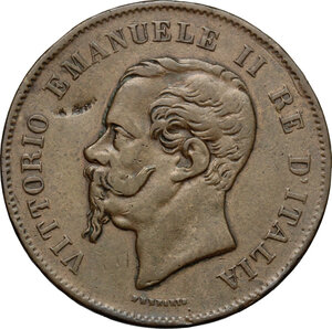 obverse: Vittorio Emanuele II, Re d Italia (1861-1878).. 5 centesimi 1861 Bologna