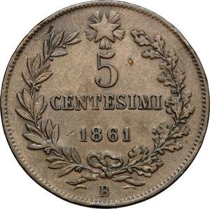 reverse: Vittorio Emanuele II, Re d Italia (1861-1878).. 5 centesimi 1861 Bologna