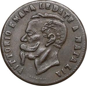 obverse: Vittorio Emanuele II  (1820-1878).. Contraffazione dei 5 centesimi. Legende alterate e data incongrua (1881)