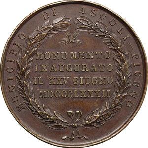 reverse: Vittorio Emanuele II (1849-1861).. Medaglia 1825 Giugno 1882, per l inaugurazione del monumento a Vittorio Emanuele II ad Ascoli Piceno