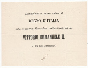 obverse: Regnando Vittorio Emanuele II (1849-1861).. Scheda per il referendum (1866) inerente all annessione del Veneto al Regno d Italia