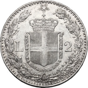 reverse: Umberto I (1878-1900).. 2 lire 1882 Roma