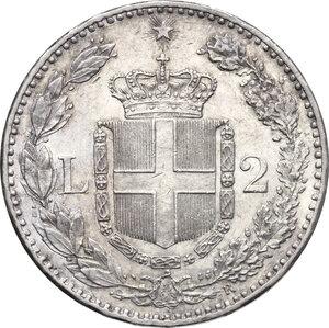 reverse: Umberto I (1878-1900). 2 lire 1887