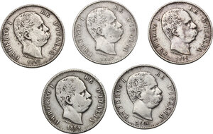 obverse: Umberto I (1878-1900). Lotto di cinque (5) monete da 1 lira: 1884, 1886, 1887, 1899 e 1900