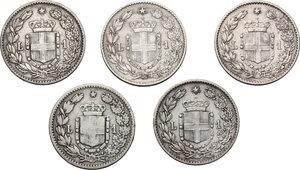 reverse: Umberto I (1878-1900). Lotto di cinque (5) monete da 1 lira: 1884, 1886, 1887, 1899 e 1900