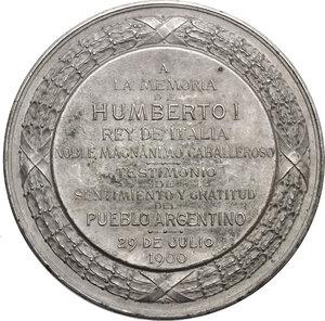 reverse: Umberto I (1878-1900).. Medaglia 29 luglio 1900, il Popolo Argentino in memoria del re d Italia
