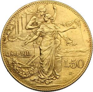 reverse: Vittorio Emanuele III (1900-1943). 50 lire 1911