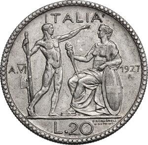 reverse: Vittorio Emanuele III (1900-1943). 20 lire 1927 A. VI