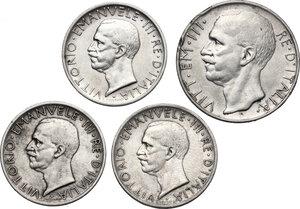 obverse: Vittorio Emanuele III (1900-1943). Lotto di quattro monete: 10 Lire 1928 e 5 Lire 1928 (2) e 1929