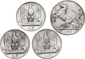 reverse: Vittorio Emanuele III (1900-1943). Lotto di quattro monete: 10 Lire 1928 e 5 Lire 1928 (2) e 1929