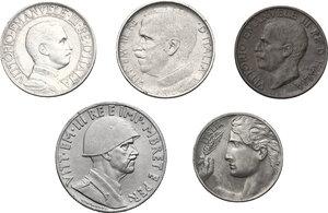 obverse: Vittorio Emanuele III (1900-1943). Lotto di 5 monete: Lira 1910, 50 centesimi 1921, 20 centesimi 1911, 10 centesimi 1923 e lek 1939