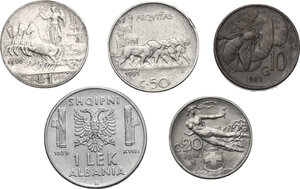 reverse: Vittorio Emanuele III (1900-1943). Lotto di 5 monete: Lira 1910, 50 centesimi 1921, 20 centesimi 1911, 10 centesimi 1923 e lek 1939