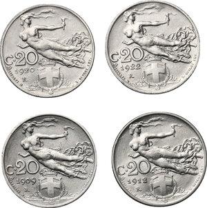reverse: Vittorio Emanuele III (1900-1943). Lotto di 4 monete da 20 centesimi 1909, 1912, 1920 e 1922