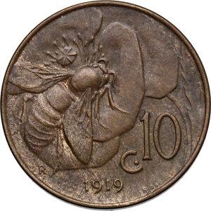 reverse: Vittorio Emanuele III (1900-1943). 10 centesimi 1919