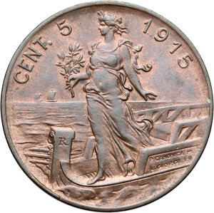 reverse: Vittorio Emanuele III (1900-1943). 5 centesimi 1915