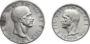 obverse: Vittorio Emanuele III (1900-1943). 10 e 5 Lek 1939