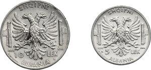 reverse: Vittorio Emanuele III (1900-1943). 10 e 5 Lek 1939