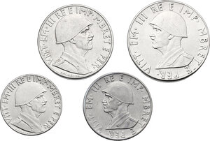 obverse: Vittorio Emanuele III (1900-1943). 2, 1, 0.50 e 0.20 Lek 1939