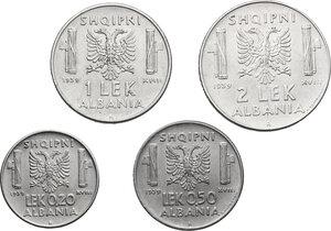 reverse: Vittorio Emanuele III (1900-1943). 2, 1, 0.50 e 0.20 Lek 1939