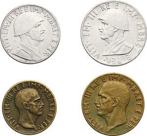 obverse: Vittorio Emanuele III (1900-1943). 0.50, 0.20, 0,10 e 0.05 Lek 1940