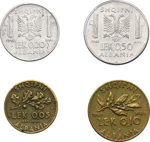 reverse: Vittorio Emanuele III (1900-1943). 0.50, 0.20, 0,10 e 0.05 Lek 1940
