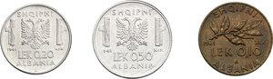 reverse: Vittorio Emanuele III (1900-1943). 0.50, 0.20 e 0.10 Lek 1941