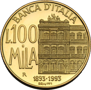 reverse: 100 000 lire in oro 1994, Centenario della Banca d Italia