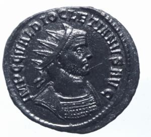 obverse: Impero Romano. Diocleziano. 284-305 d.C. Antoniniano. Ae. D/ IMP C C VAL DIOCLETIANVS P F AVG Busto radiato e corazzato a destra. R/ IOVI CONSERVAT Giove stante a sinistra con fulmine e scettro, davanti un aquila e dietro di lui 2 insegne . In esergo TXXIT. Zecca Ticinum.C.203 - RIC.228 - HCC.50. Peso gr. 2,65. Diametro 21,00 mm. . SPL\qSPL.R