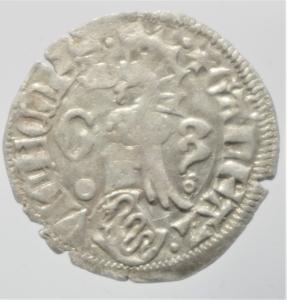 obverse: Zecche Italiane. Milano. Galeazzo Visconti. 1355-78. Sesino. Ag. D/ Cimiero R/Tizzone con 2 secchie .CNI 13\19. Peso gr. 0,90 Diametro mm. 21,00. qSPL.
