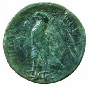 reverse: Mondo Greco. Bruttium. I Bretti. 215-205 a.C. Oncia. AE. D/ Testa di Zeus a destra. R/ Aquila stante a sinistra su fulmine. SNG ANS 3. Peso gr. 6,20 Diametro 21,00 mm. Bel BB+.