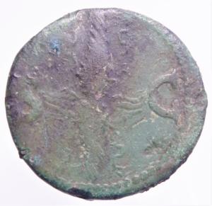 reverse: Impero Romano. Augusto. 27 a.C. - 14 d.C. Asse, emesso da Tiberio. AE. D/ Testa radiata di Augusto a sinistra. R/ SC. Fulmine alato. RIC (Tib.) 83. Peso 11,83 gr. Diametro 29,00 mm. BB. Patina