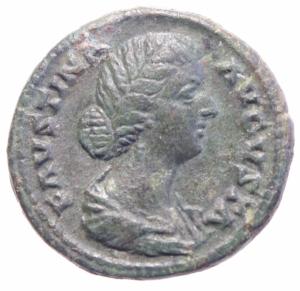 obverse: Impero Romano. Faustina II morta nel 175 d.C. Ae. Asse. D/ FAVSTINA AVGVSTA, Busto drappeggiato verso destra. R/ IVNO, Giunone stante verso sinistra con scettro e patera a sinistra un pavone. RIC 1388. Peso 14,95 gr. Diametro 26,97 mm. BB+. Patina Scura.