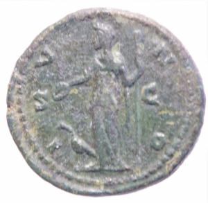 reverse: Impero Romano. Faustina II morta nel 175 d.C. Ae. Asse. D/ FAVSTINA AVGVSTA, Busto drappeggiato verso destra. R/ IVNO, Giunone stante verso sinistra con scettro e patera a sinistra un pavone. RIC 1388. Peso 14,95 gr. Diametro 26,97 mm. BB+. Patina Scura.