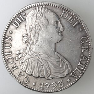 obverse: Messico. Carlo IV. 1788-1808. 8 Reales 1793 FM. Ag.