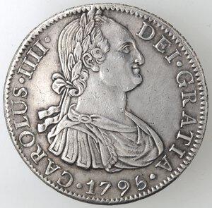 obverse: Messico. Carlo IV. 1788-1808. 8 Reales 1795 FM. Ag.