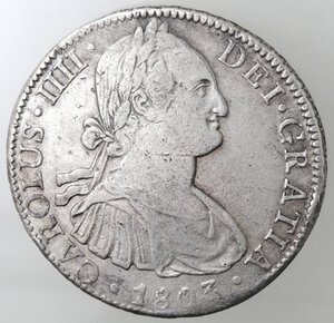 obverse: Messico. Carlo IV. 1788-1808. 8 reales 1803 FT. Ag.