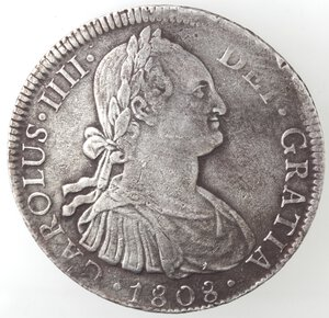 obverse: Messico. Carlo IV. 1788-1808. 8 reales 1808 TH. Ag.