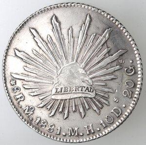 reverse: Messico. Prima Repubblica. 8 Reales 1881. Ag.