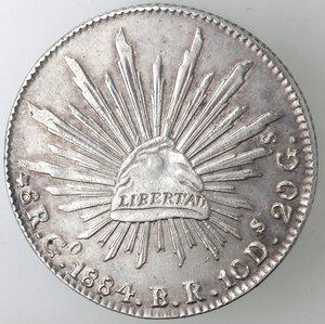 reverse: Messico. Prima Repubblica. 8 Reales 1884. Ag.