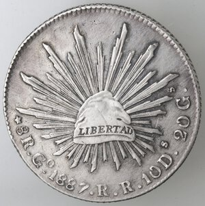 reverse: Messico. Prima Repubblica. 8 Reales 1887. Ag.