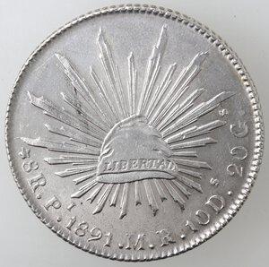 reverse: Messico. Prima Repubblica. 8 Reales 1891. Ag.