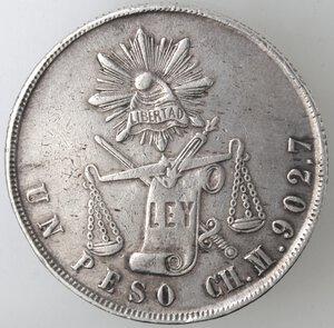 reverse: Messico. Prima Repubblica. Peso 1872. Ag.