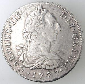 obverse: Peru . Lima. MJ. Carlo III. 1759-1788. 8 Reales 1777. Ag.