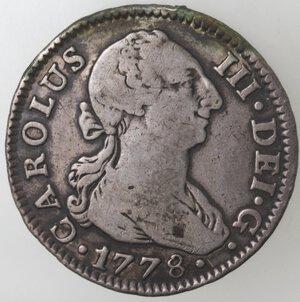 obverse: Spagna. Siviglia. Carlo III. 1759-1788.2 Reales 1778. Ag.